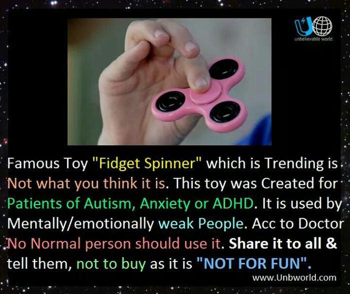 Le genre de messages qui circulent sur les réseaux sociaux et les messageries concernant le Fidget Spinner et l'autisme
