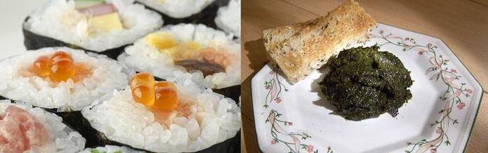 """L'utilisation des algues rouges (Porphyra) dans la cuisine du monde. Du Nori au Japon (sur la gauche) et du """"Laver"""" aux Pays de Galles (sur la droite)"""