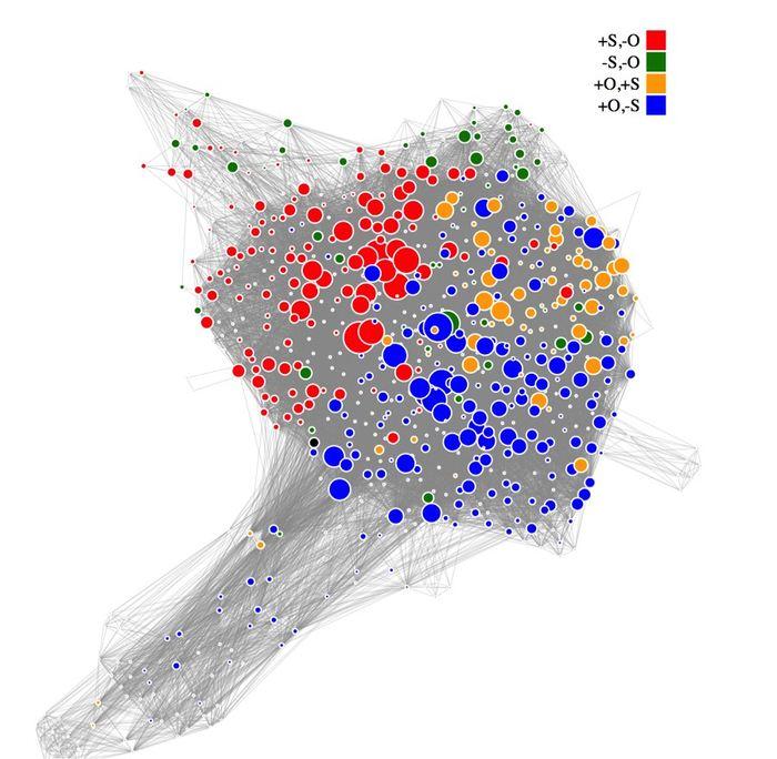 Un réseau de 664 minéraux de cuivre triés par leur composition. Chaque cercle coloré représente un minérai différent de cuivre. La distribution des couleurs avec les cercles bleus, rouges et oranges, combinés ensemble, révèlent des patterns cachés de la distribution du cuivre et pourrait permettre de découvrir de nouveaux gisements - Morrison et al., courtesy American Mineralogist