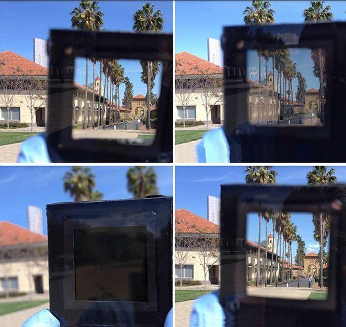 Un prototype de fenêtre intelligente qui passe du transparent à l'opaque en l'espace d'une minute en réagissant au courant électrique - Crédit : Yue et al./Joule 2017