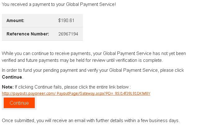 Un exemple de mail de phishing se faisant passer pour Payoneer
