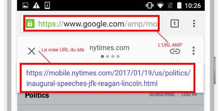 La différence entre une URL AMP (Accelerated Mobile Pages) et la vraie URL du site