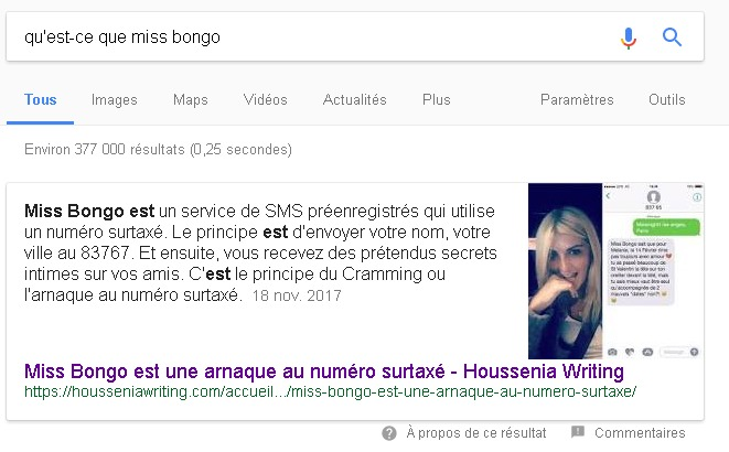 Un exemple sur comment obtenir un Featured Snippet de Google