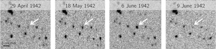 Ces plaques photoraphiques s'étendent sur 6 semaines en 1942 et montre la Nova de 1437 qui passe par une éruption de nova naine - Crédit : Harvard DASCH