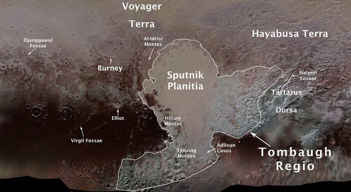 L'International Astronomical Union (IAU) vient de nommer officiellement plusieurs caractéristiques de Pluton. Ainsi, on a désormais la région Tombaugh, le cratère Burney, Tenzing Montes, Al-Idrisi Montes ou encore Djanggawul Fossae. Il reste encore de nombreuses caractéristiques qui doivent être nommées.