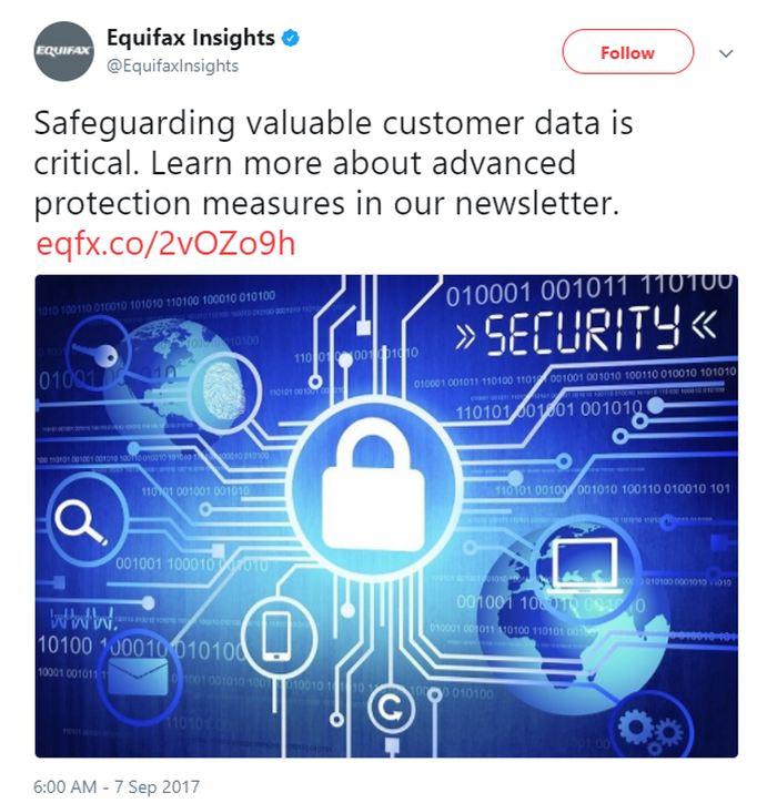 Le jour de l'annonce de la brèche, Equifax annonce fièrement que la protection des données de ses utilisateurs est cruciale pour l'entreprise