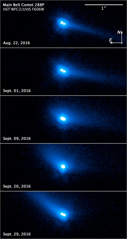 Les photos du système 288P, astéroide binaire se comportant comme une comète, par le télescope spatial Hubble - Crédit : NASA, ESA, and J. Agarwal (Max Planck Institute for Solar System Research)