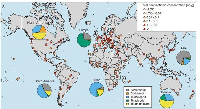 La carte mondiale des résidus de néonicotinoïdes dans le miel - Crédit : Mitchell etal., Science