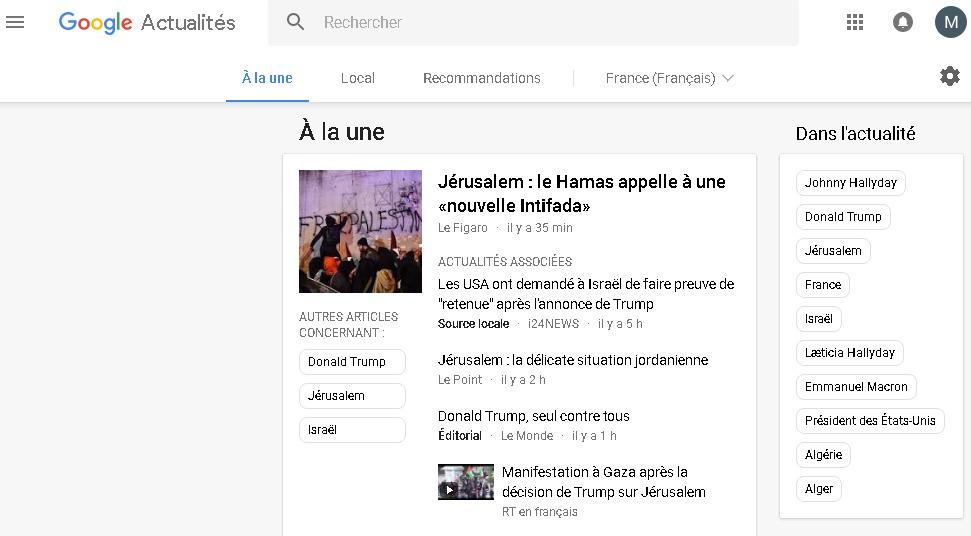 Google cache désormais les sections dans Google Actualités