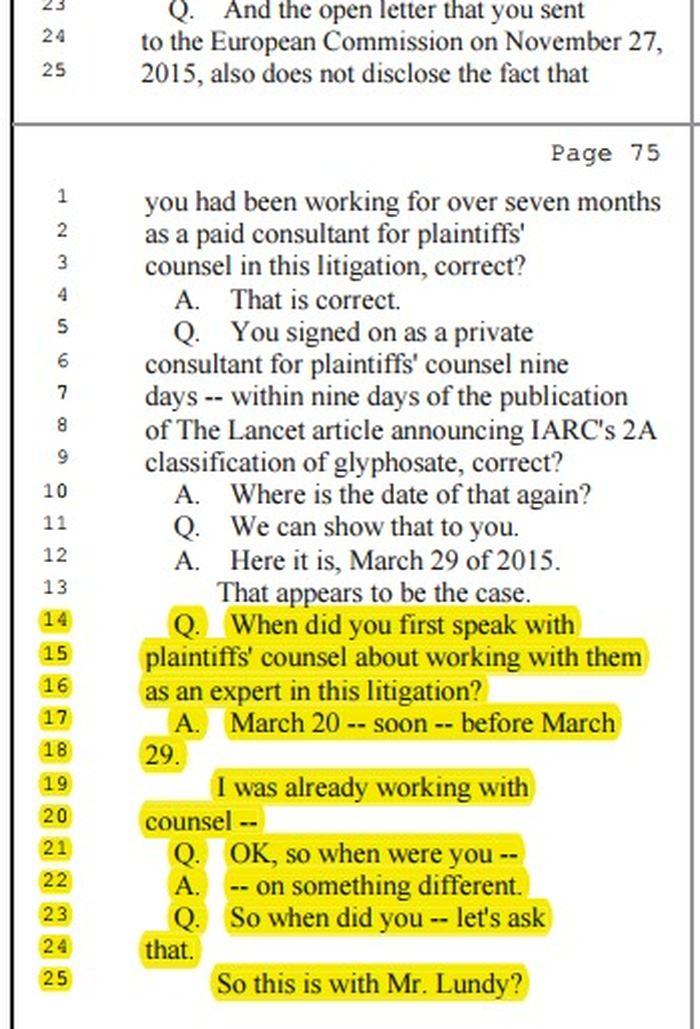 Christopher Portier est obligé d'admettre qu'il avait passé un contrat avec une firme juridique, qui attaquait Monsanto, alors qu'il préparait le rapport du CIRC sur le glyphosate