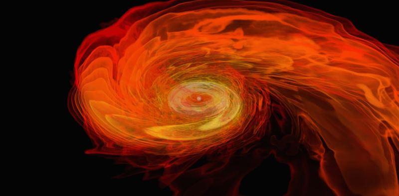 Une simulation informatique de la fusion d'étoiles à neutrons - Crédit : NASA/AEI/ZIB/M. Koppitz and L. Rezzolla, CC BY
