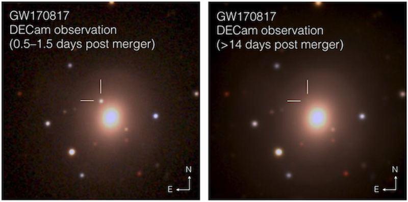 Des images composites de la version optique des ondes gravitationnelles GW170817. Chaque image est de 1,5 arcsecondes sur un coté. Les images ont été prises à intervalle de 2 semaines - Soares-Santos et al. and DES Collaboration, CC BY-ND
