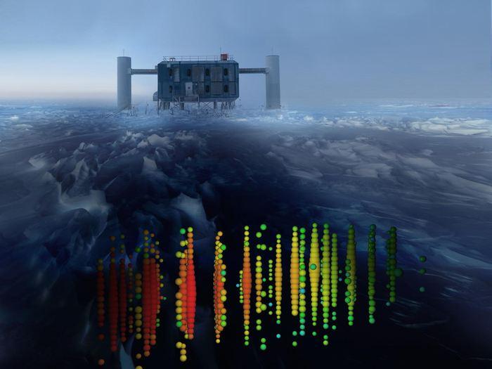Cette image montre une représentation visuelle des détections de neutrinos à très haute énergie avec une vue du laboratoire d'IceCube - Crédit : IceCube Collaboration