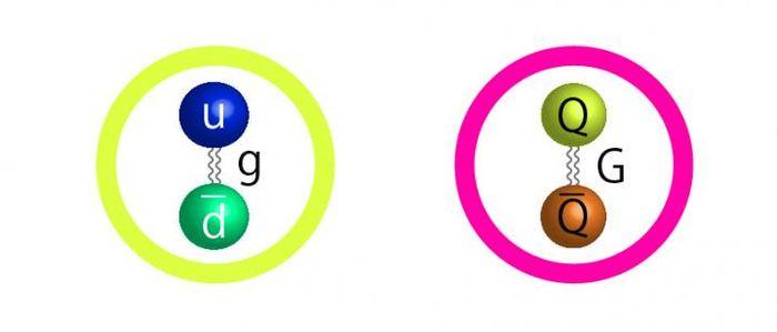 La structure proposée pour le SIMP (Strongly Interacting Massive Particles) est similaire à un pion (gauche). Les pions sont composé un Quark Up et d'un Quark Down avec un gluon (g) qui les maintient ensemble. Un SIMP serait composé d'un quark et d'un antiquark maintenu par un gluon - Crédit : Kavli IPMU graphic