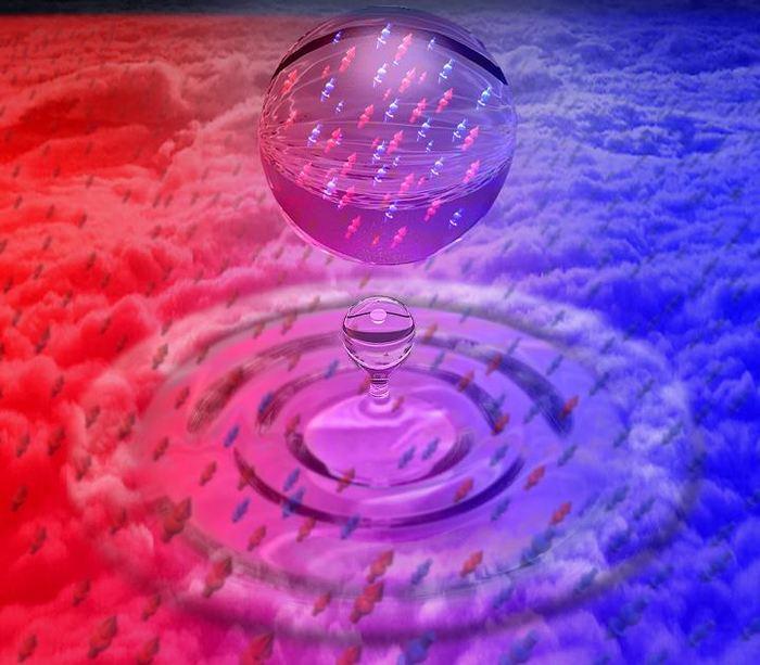 Une illustration d'artiste d'une gouttelette de liquide quantique composée d'un mélange de 2 gaz d'atomes de potassium ultra-froids - Crédit : ICFO/ Povarchik Studios Barcelona