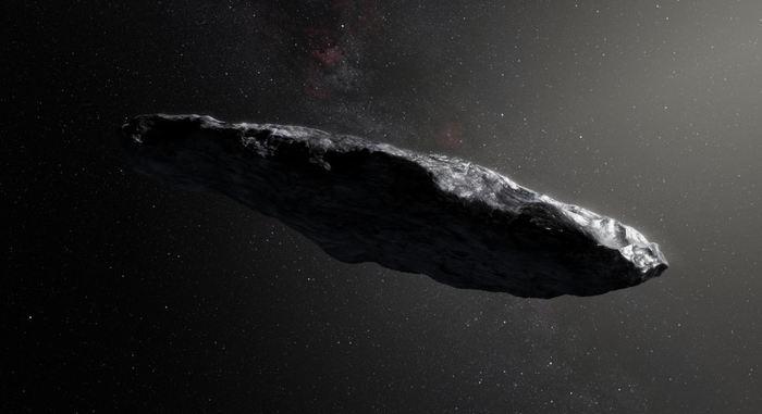 Une illustration d'artiste d'Oumuamua - Crédit : ESO/M.Kornmesser