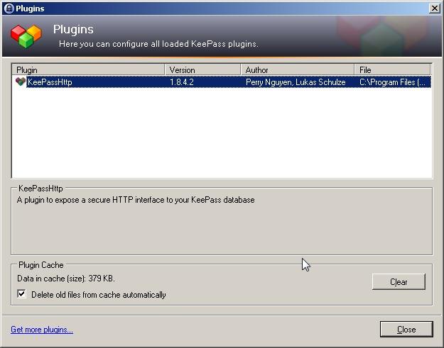 Le plugin KeePassHttp dans KeePass pour l'utiliser avec Chrome