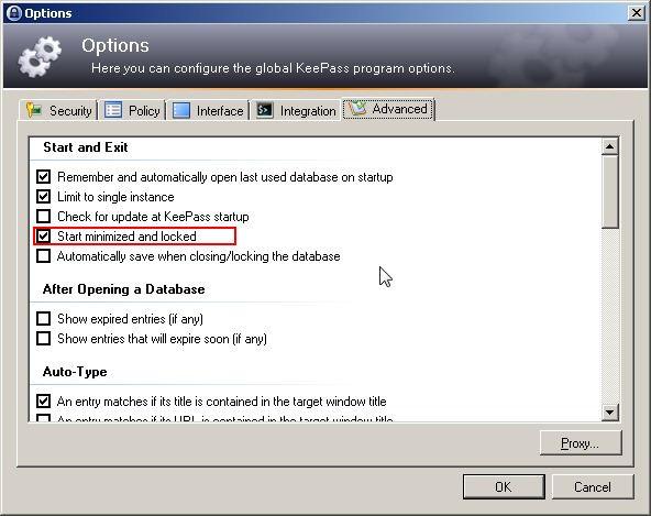 Configurer KeePass pour qu'il se lance au démarrage de Windows en étant minimisé et verrouillé