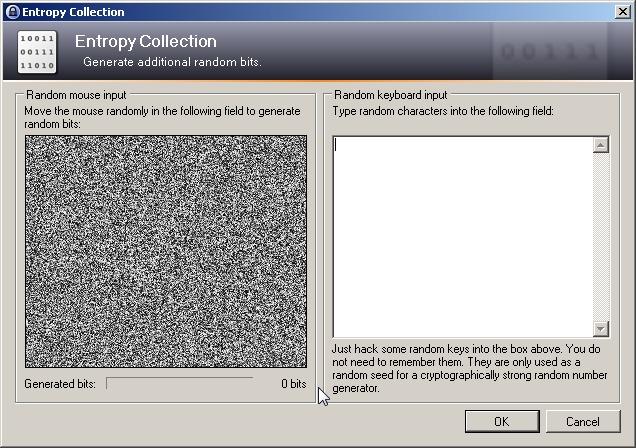 Bougez le curseur sur la zone grise et tapez des mots au hasard dans la zone de texte pour créer de l'entropie pour votre fichier clé de KeePass