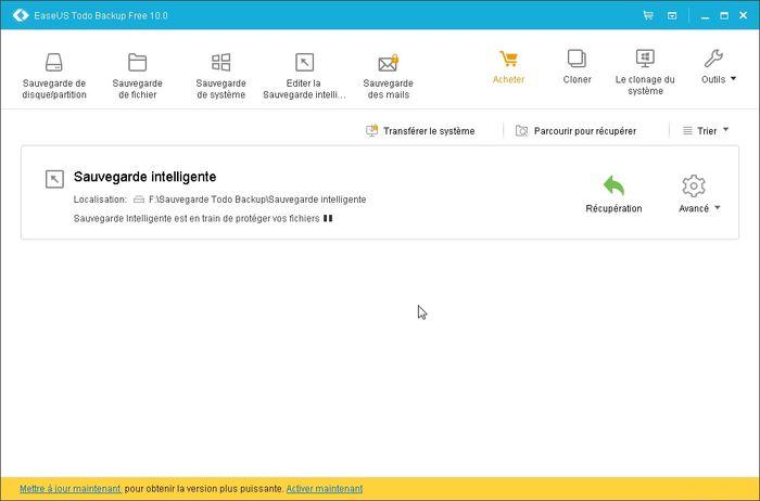 L'interface principale d'Easeus Todo Backup Free, toutes les options sont faciles accessibles