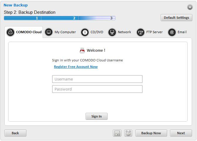 Choisissez où vous voulez stocker vos sauvegardes avec Comodo Backup