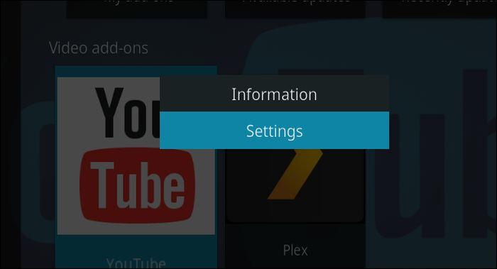 Tapez sur S pour aller dans les options d'un add-on de Kodi