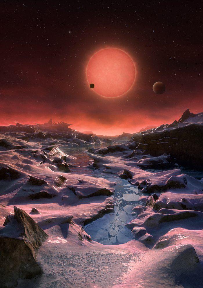 Sur cette vue d'artiste, l'une des planètes internes est vue en transit devant le disque de sa petite et peu lumineuse étoile - Crédit: ESO/M. Kornmesser