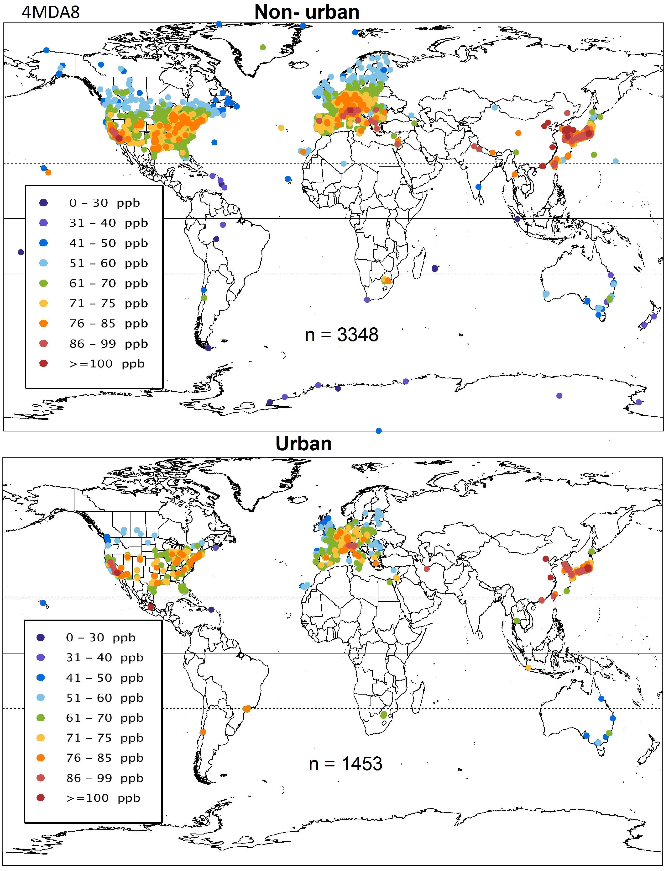 En moyenne, le nombre de jours par an où les niveaux de l'ozone ont dépassé les normes de l'air américaines - Crédit : TOAR/Elementa