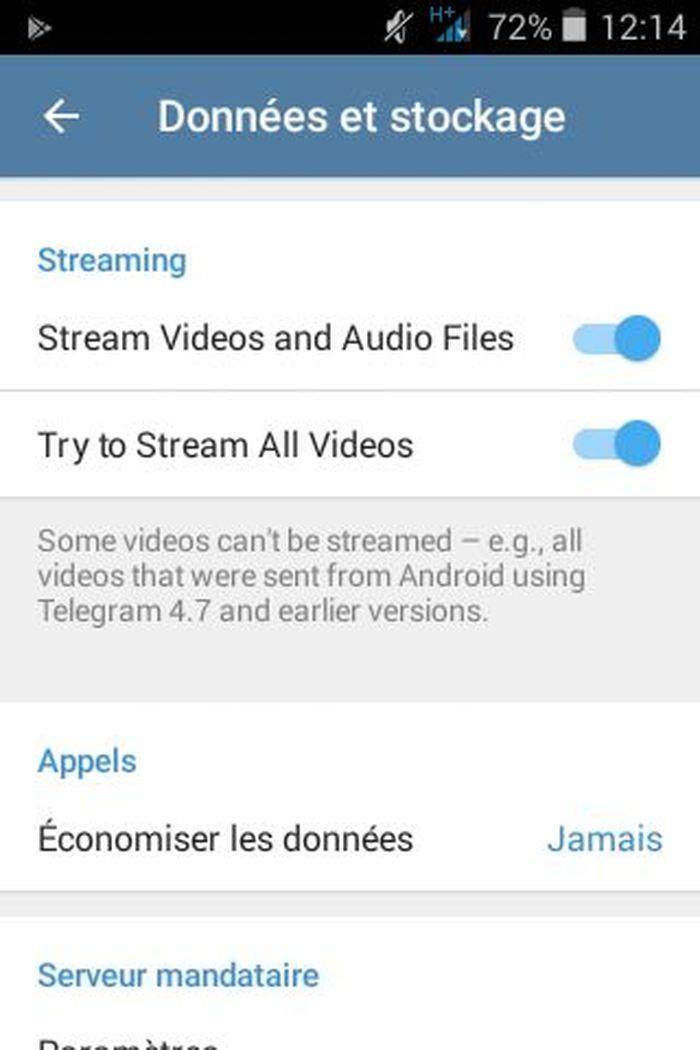 Les réglages du streaming de la vidéo sur Telegram