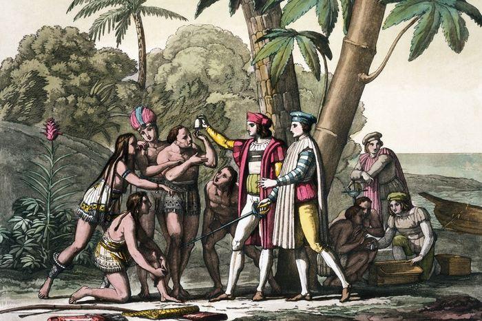 Première rencontre de Christophe Colomb avec les indigènes du Nouveau Monde - Crédit : Librairie du Congrès