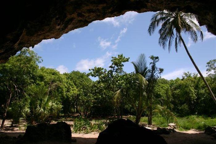 Entrée de la grotte Preacher's Cave où a on trouvé la dent pour reconstruire l'ancien génome - Crédit : Jane Day