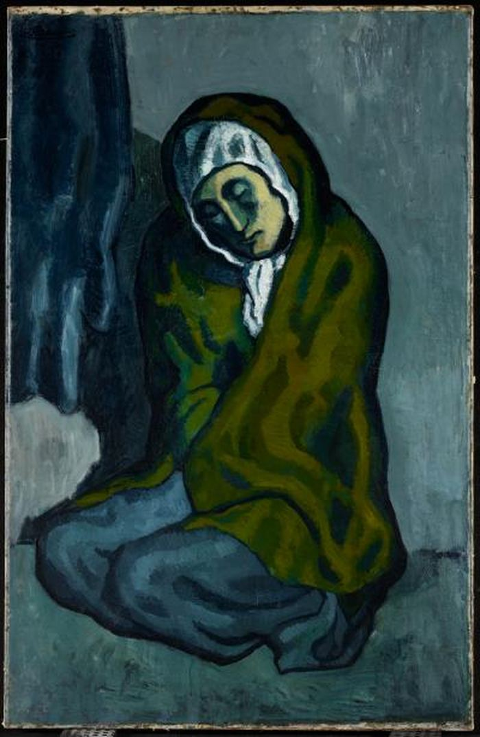 La Miséreuse accroupie de Pablo Picasso - Pablo Picasso. La Miséreuse accroupie, 1902. Oil on canvas, 101.3 x 66 cm (39 7/8 x 26 in.). Art Gallery of Ontario. Anonymous gift, 1963. © Picasso Estate.