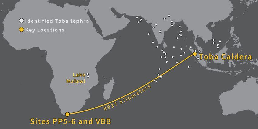 Les tessons de verre à Pinnacle Point en Afrique du Sud ont été transporté d'Indonésie sur plus de 9 000 km - Crédit : Erich Fisher