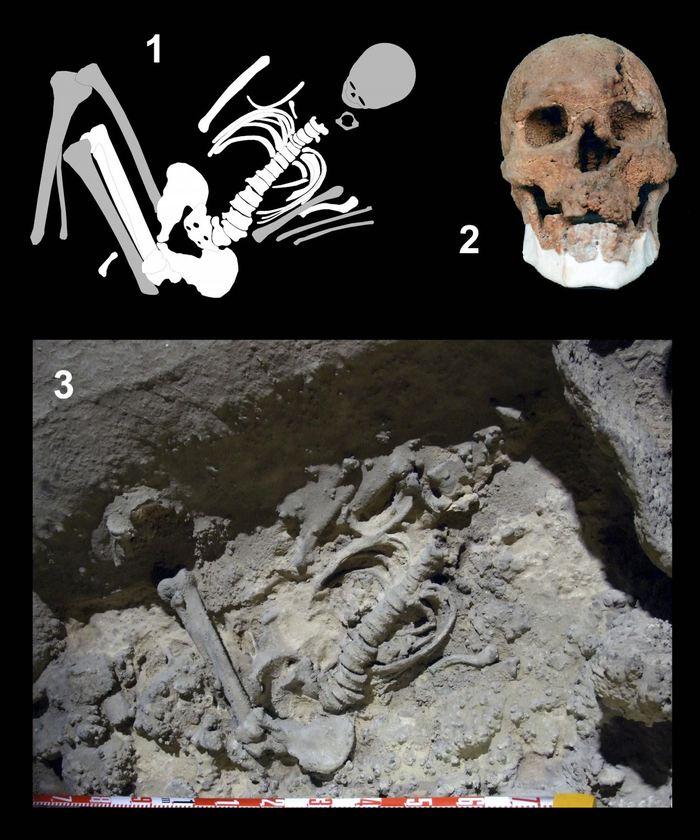 Les restes d'un agriculteur du début du néolithique datant de 7 245 ans en Andalousie en espagne.  1 -  Diagramme de la position funéraire 2 - Le crâne de l'individu 3 - Les restes funéraires découverts dans la grotte  Crédit : Rafael Martínez-Sánchez (Universidad de Granada) et Antonio Moreno Rosa (Universidad de Córdoba)