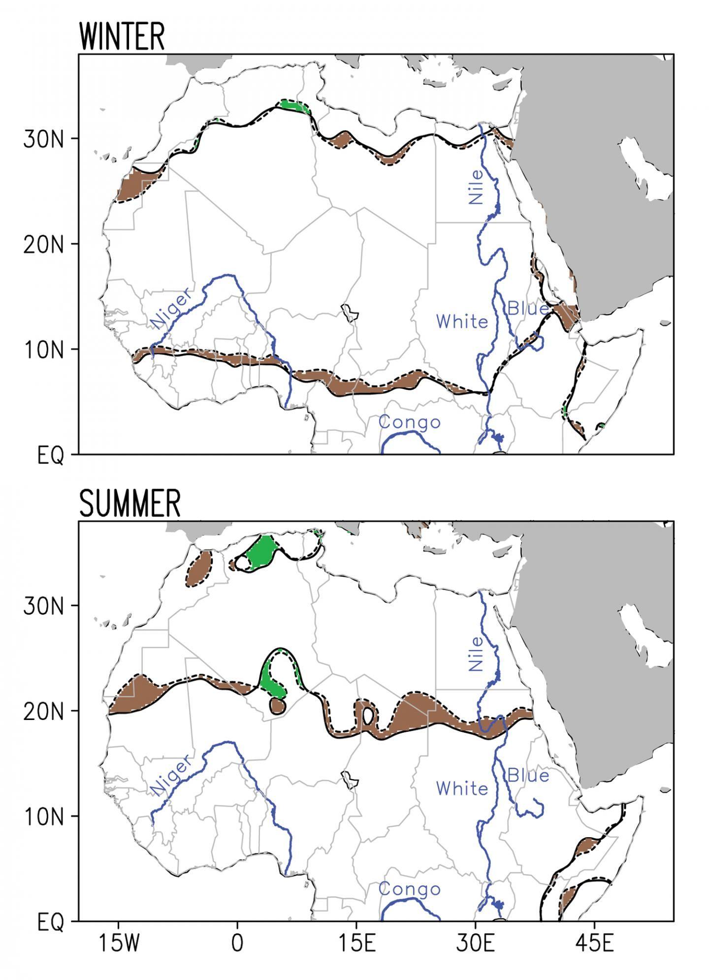 L'augmentation du désert du Sahara de 1920 à 2013. Les lignes pointillées montrent la frontière du désert en 1920 tandis que les lignes pleines montrent cette frontière en 2013. Les régions en marron montrent l'avancée du désert tandis que les régions en vert en montrent le recul - Crédit : Natalie Thomas/Sumant Nigam/University of Maryland.