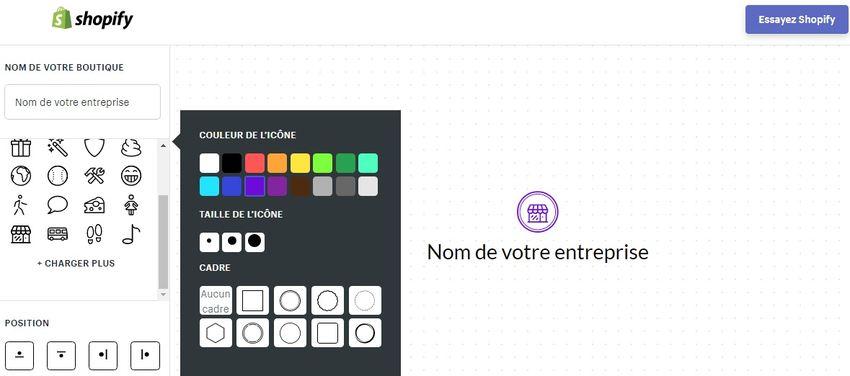 Le générateur de logo de Shopify