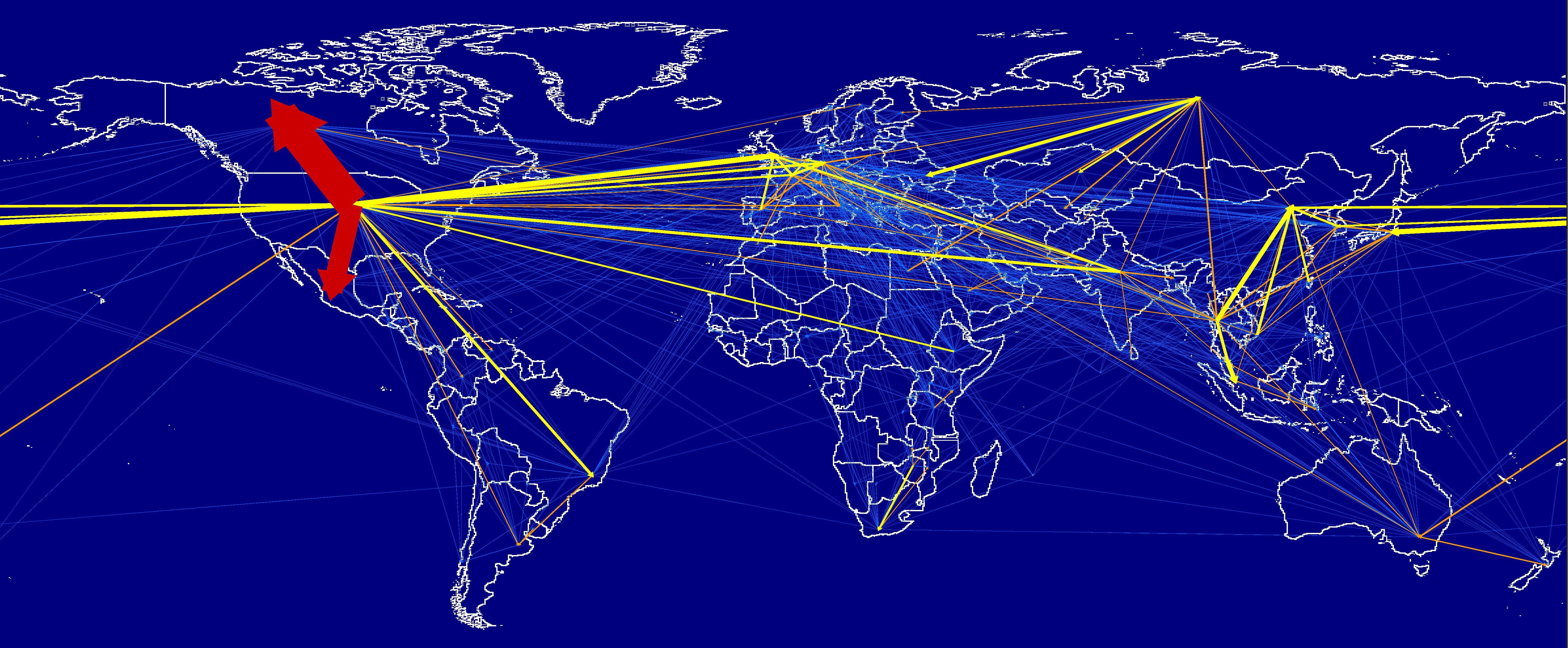 En 2013, les voyages internationaux ont entraîné une empreinte carbone d'environ 1 Gt CO2-e, soit 23 % de l'empreinte carbone mondiale du tourisme. Les flèches pointent dans la direction du flux de carbone incorporé, qui, conformément à la littérature, est la direction du commerce des produits de base et qui est contraire au mouvement des personnes. Les Flèches rouges : Mouvements internationaux bilatéraux appartenant aux 10 % supérieurs du total de 1 Gt de CO2-e Flèches jaunes : Les principaux 10-30 % Flèches orange : 30-50 % Flèches bleues: le reste. Crédit : University of Sydney