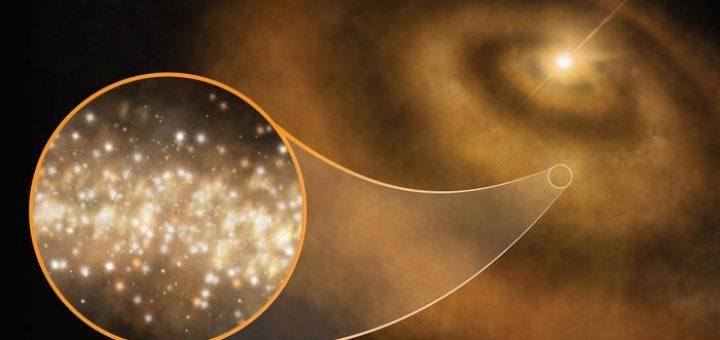 Une impression d'artiste sur les diamants nanométriques entourant une jeune étoile dans la Voie Lactée - Crédit : S. Dagnello, NRAO/AUI/NSF