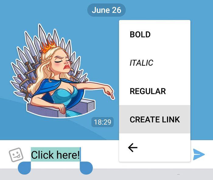 La possibilité de créer des liens de texte dans Telegram