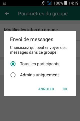 Seuls les administrateurs ou tous les participants peuvent publier dans un groupe Whatsapp
