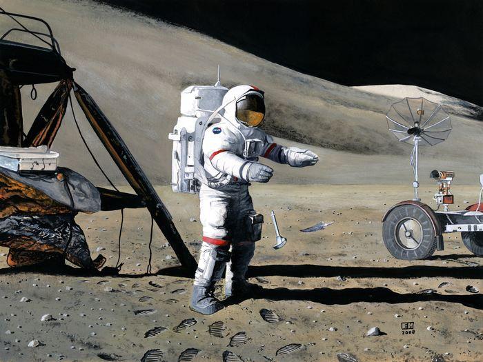 Une illustration de l'expérience de l'astronaute David Scott sur la lune. Le marteau et la plume tombent à la même vitesse indépendamment de leur masse.