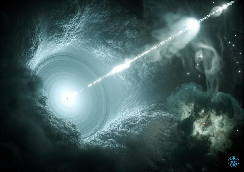 Une illustration d'artiste du noyau galactique actif. Le trou noir supermassif au centre du disque d'accrétion envoie un jet étroit de haute énergie dans l'espace, perpendiculaire au disque - Crédit : DESY, Science Communication Lab