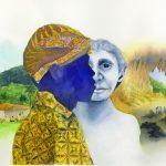 Dans cette illustration, le village pygmée moderne, Rampasasa, est montré à gauche; au centre, un pygmée Rampasasa moderne portant le couvre-chef et les vêtements traditionnels est juxtaposé au visage d'une reconstruction d'Homo floresiensis; à droite, les éléphants pygmées jouent dans la grotte de Liang Bua où des fossiles H. floresiensis ont été découverts en 2004 - Crédit : Matilda Luk, Office of Communications, Princeton University