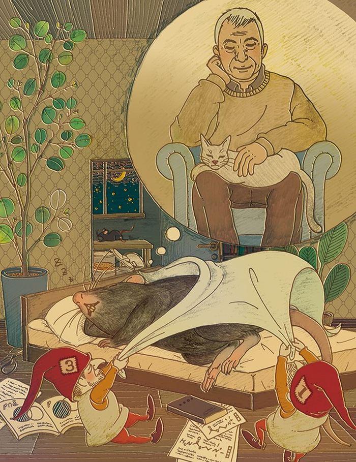 Les récepteurs de l'acétylcholine Chrm1 et Chrm3 (illustrés par les gnomes 1 et 3 du marchand de sable) sont essentiels pour le sommeil paradoxal. Dans cette description visuelle de l'étude, les récepteurs permettent à une souris de rêver d'un chat endormi et de Michel Jouvet (1925-2017) qui était un pionnier des études sur le sommeil paradoxal - Crédit : Hiroko Uchida