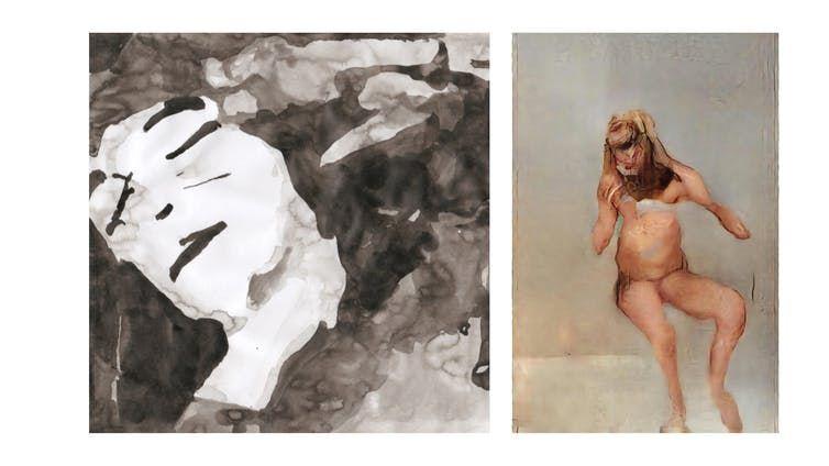 À gauche : une photo de La chute de la maison Usher d'Anna Ridler. À droite : Le fils du boucher de Mario Klingemann.