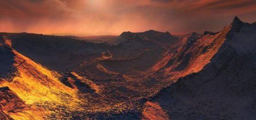 Illustration d'artiste de la surface de l'exoplanète Etoile de Barnard b - Crédit : ESO/M. Kornmesser