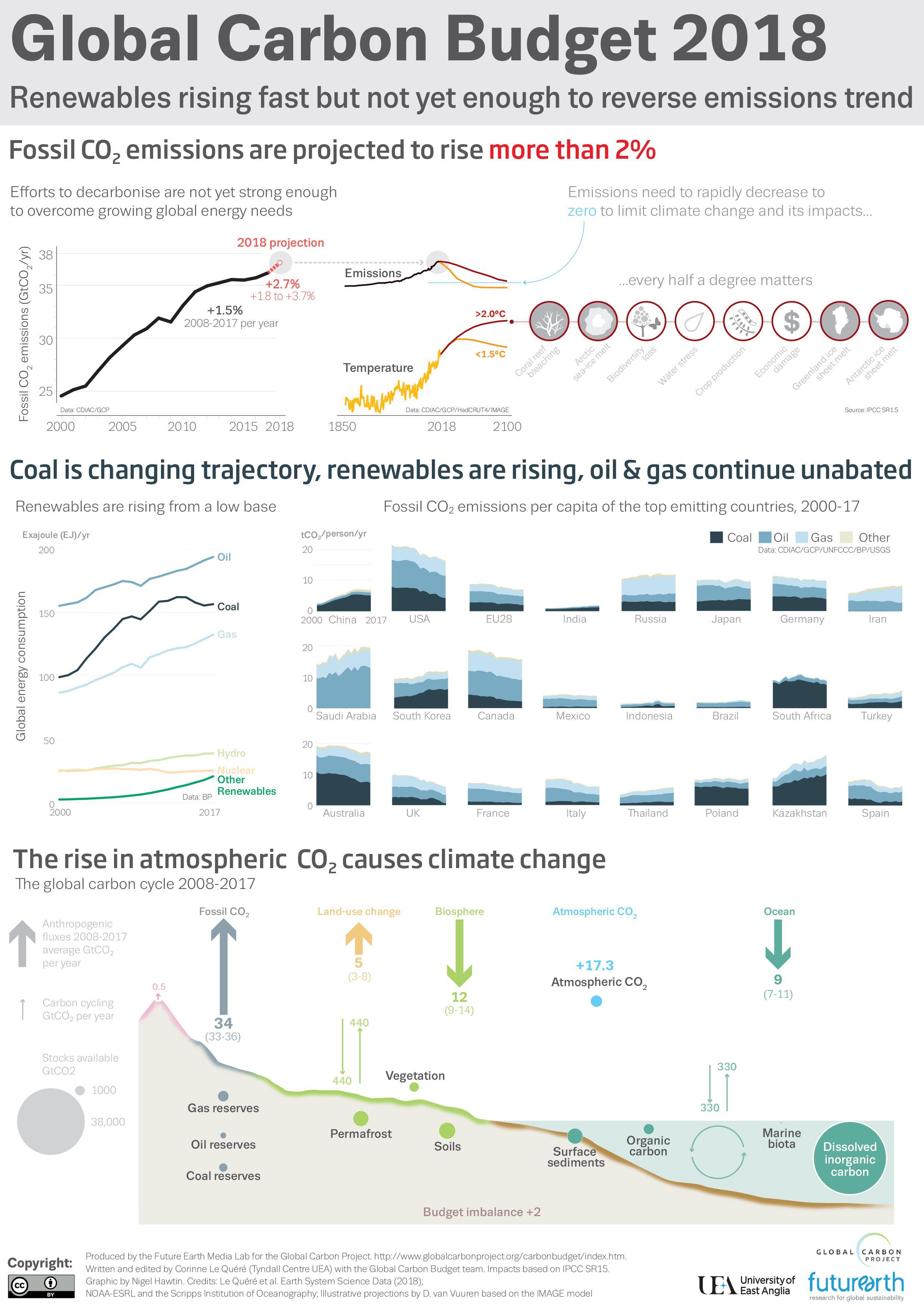 Selon les chercheurs de l'Université d'East Anglia (UEA) et du Global Carbon Project, les émissions mondiales de carbone devraient atteindre un niveau sans précédent en 2018.