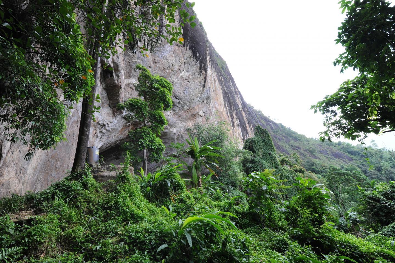 Une vue extérieure de l'entrée de la grotte Fa-Hien Lena au Sri Lanka - Crédit : O. Wedage