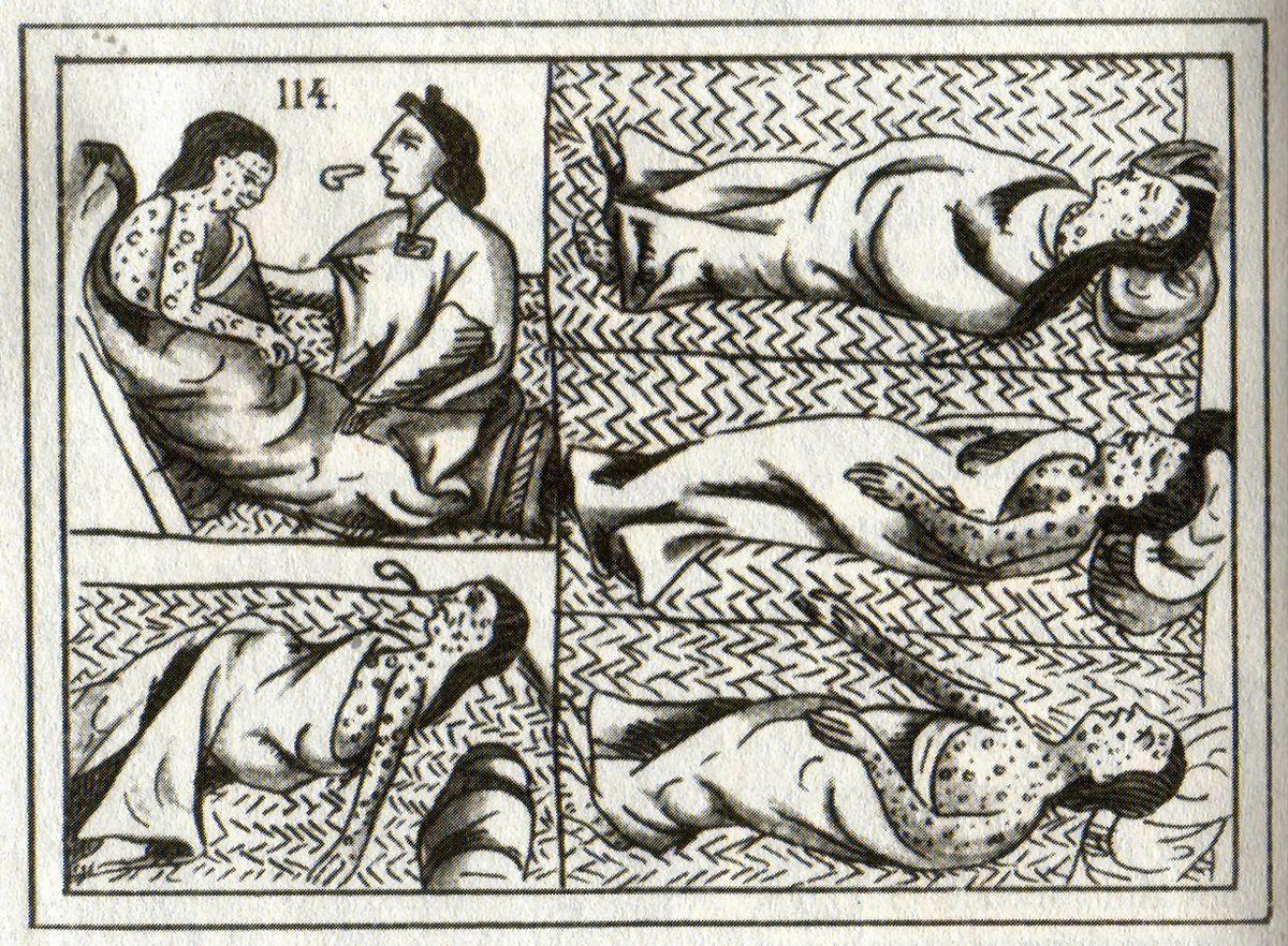 Un dessin aztèque du XVIe siècle représentant les victimes de la variole.