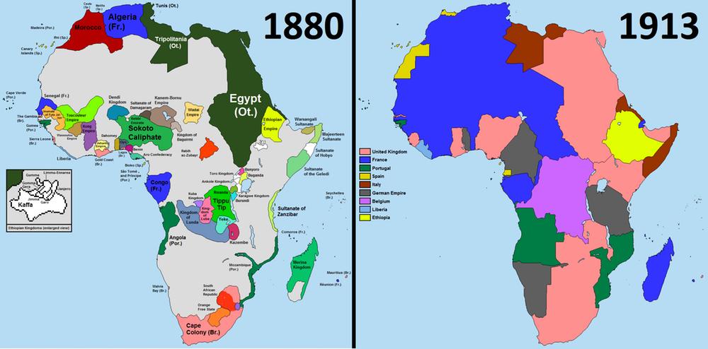 Le Royaume-Uni, la France et d'autres puissances européennes ont divisé l'Afrique à la fin du 19ème siècle - Crédit: davidjl123 / Somebody500, CC BY-SA